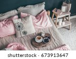 black loft bedroom and pastel... | Shutterstock . vector #673913647