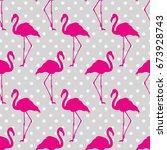 flamingo seamless pattern on... | Shutterstock .eps vector #673928743