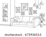 living room graphic black white ... | Shutterstock .eps vector #673936513