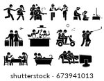 happy lover couple activities.... | Shutterstock .eps vector #673941013