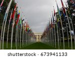 the nations of flags at the... | Shutterstock . vector #673941133