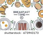 breakfasts illustration. food... | Shutterstock .eps vector #673943173