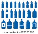 set of abstract water bottle... | Shutterstock .eps vector #673959733