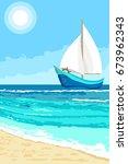 summer landscape with cartoon... | Shutterstock . vector #673962343