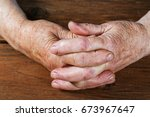 Hands Of An Old Woman Close Up...
