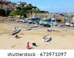 newquay cornwall  uk. july 02 ... | Shutterstock . vector #673971097