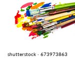 paints palette and paint brushes   Shutterstock . vector #673973863