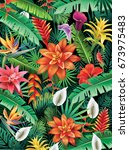 Stock vector background from tropical flowers 673975483