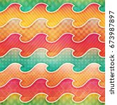 colored wave seamless pattern ... | Shutterstock .eps vector #673987897