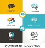 brain logo designs set.... | Shutterstock .eps vector #673997503