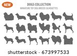 Stock vector miniature toy dog breeds set icon isolated on white flat style vector illustration 673997533