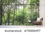 modern living room with garden... | Shutterstock . vector #674000497