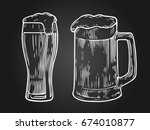 glass of beer isolated on black ... | Shutterstock .eps vector #674010877