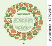 farmer's market concept in... | Shutterstock .eps vector #674014843