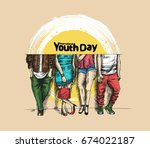 international youth day 12... | Shutterstock .eps vector #674022187