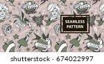 old school tattoo seamless...   Shutterstock .eps vector #674022997