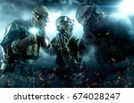 three soldiers with weapons.... | Shutterstock . vector #674028247