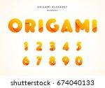 vector origami alphabet. number ...   Shutterstock .eps vector #674040133