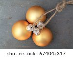 golden christmas balls with... | Shutterstock . vector #674045317
