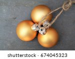 golden christmas balls... | Shutterstock . vector #674045323