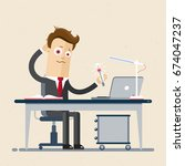 businessman is sitting at the... | Shutterstock .eps vector #674047237