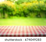 red checkered tablecloth... | Shutterstock . vector #674049283