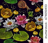 water lily embroidery seamless... | Shutterstock .eps vector #674050453