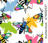 colorful pattern with insect... | Shutterstock .eps vector #674050537