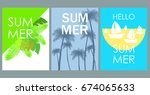 vector set of bright summer... | Shutterstock .eps vector #674065633