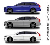 realistic car. station wagon.... | Shutterstock .eps vector #674075557