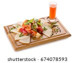 fresh vegetables with pita on a ... | Shutterstock . vector #674078593