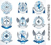 vector classy heraldic coat of... | Shutterstock .eps vector #674078983
