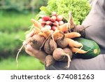 closeup of woman with freshly... | Shutterstock . vector #674081263