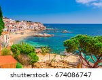 sea landscape with calella de... | Shutterstock . vector #674086747