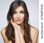 beauty woman touching face... | Shutterstock . vector #674087443