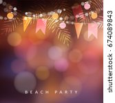 beach party greeting card ... | Shutterstock .eps vector #674089843