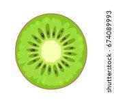 round slice of kiwi. isolated... | Shutterstock .eps vector #674089993