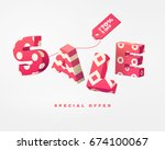 3d pink letter sale sign with... | Shutterstock .eps vector #674100067