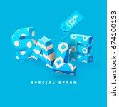 sale banner in blue color  3d... | Shutterstock .eps vector #674100133