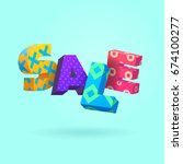 sale sign  3d letters with... | Shutterstock .eps vector #674100277