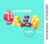 summer sale banner  colorful 3d ... | Shutterstock .eps vector #674100283