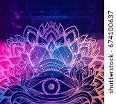 all seeing eye on indigo space... | Shutterstock .eps vector #674100637