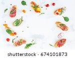 traditional spanish tapas on...   Shutterstock . vector #674101873