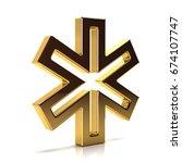 golden star of life. 3d render... | Shutterstock . vector #674107747