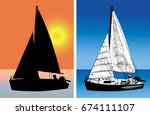 sailboat silhouette and sketch... | Shutterstock .eps vector #674111107