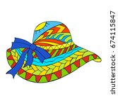colored straw hat. vector... | Shutterstock .eps vector #674115847