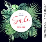 summer hawaiian flyer design... | Shutterstock . vector #674118037