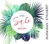 green botanical summer tropical ... | Shutterstock . vector #674118307