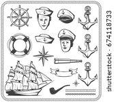 Vintage Sailor Naval Icon Set...
