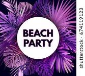 purple neon floral flyer... | Shutterstock . vector #674119123